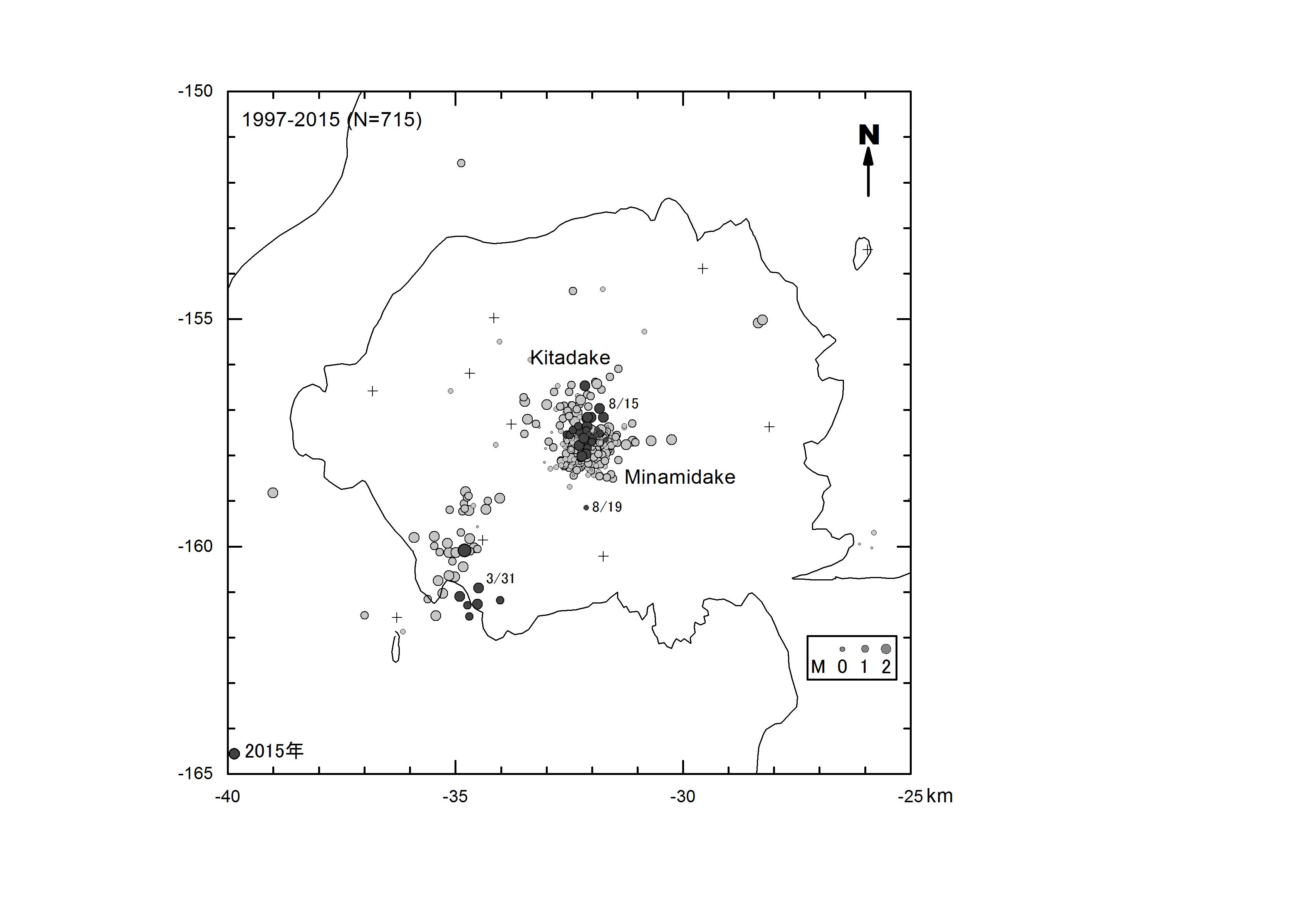 震央分布1997-2015S