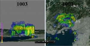 Xバンド偏波ドップラーレーダーが捉えた大阪湾周辺を移動する豪雨の3次元図